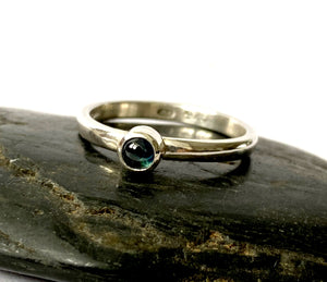 Natural Blue Sapphire Sterling Silver Stacking Ring - Glitter and Gem Jewellery