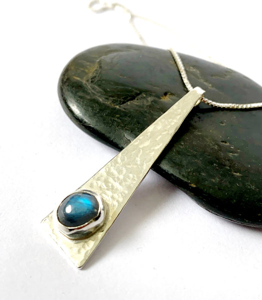 Labradorite Hammered Textured Sterling Silver Pendant Necklace - Glitter and Gem Jewellery