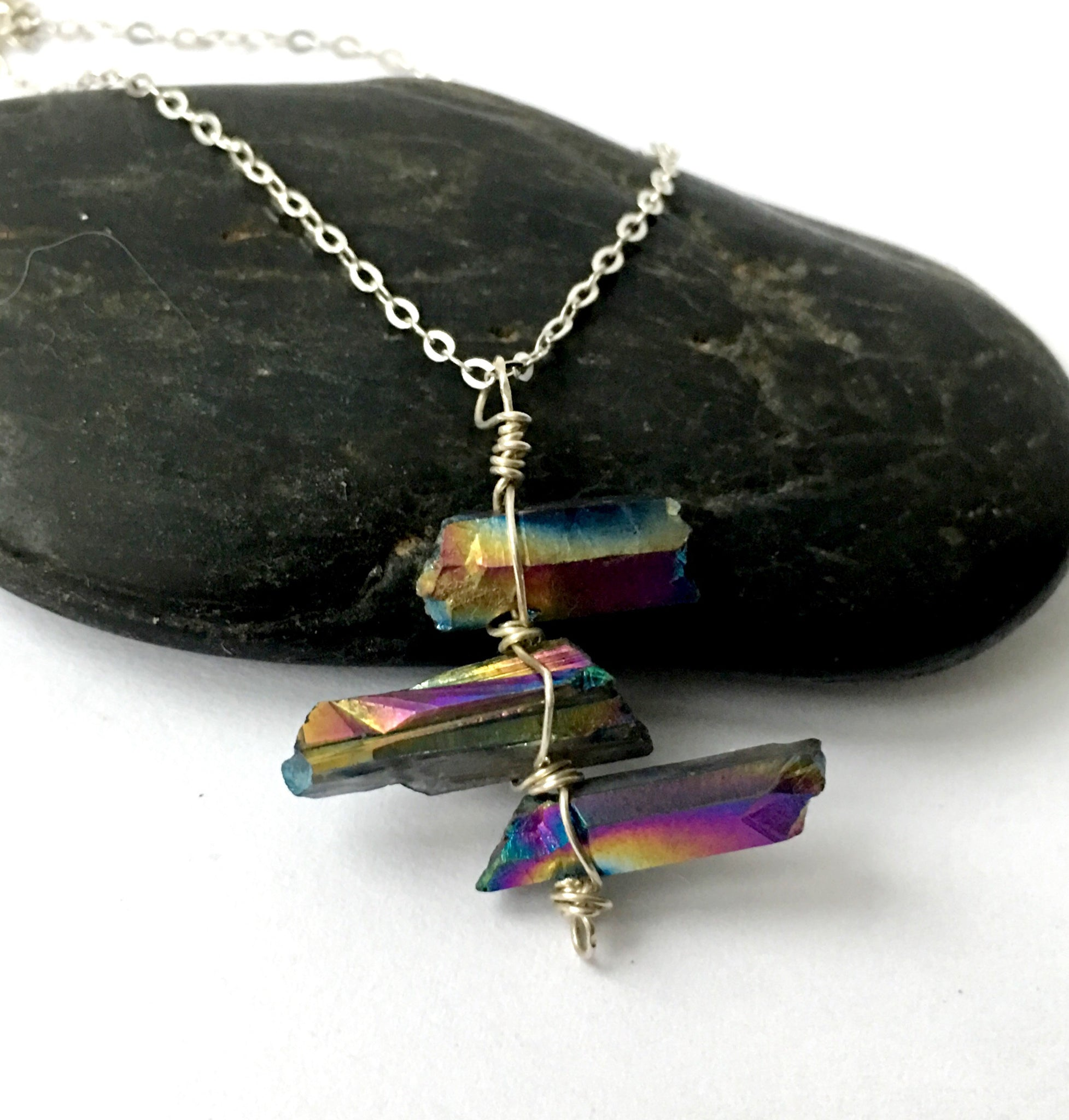 Titanium Rainbow Quartz Point Sterling Silver Pendant - Glitter and Gem Jewellery