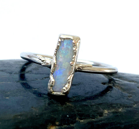 Coober Pedy Opal Silver Formed Ring - Glitter and Gem Jewellery