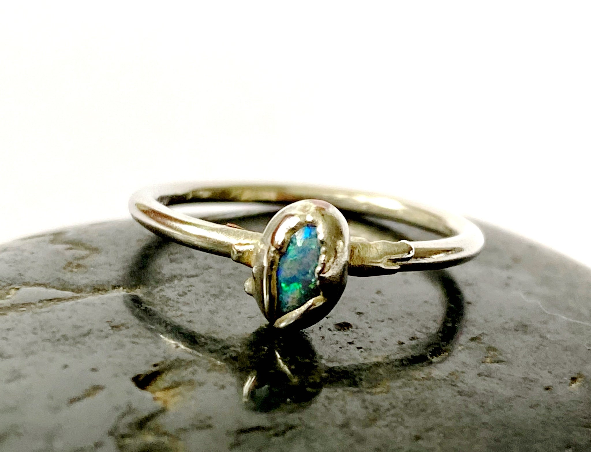 Lightning Ridge Solid Opal Silver Ring - Glitter and Gem Jewellery