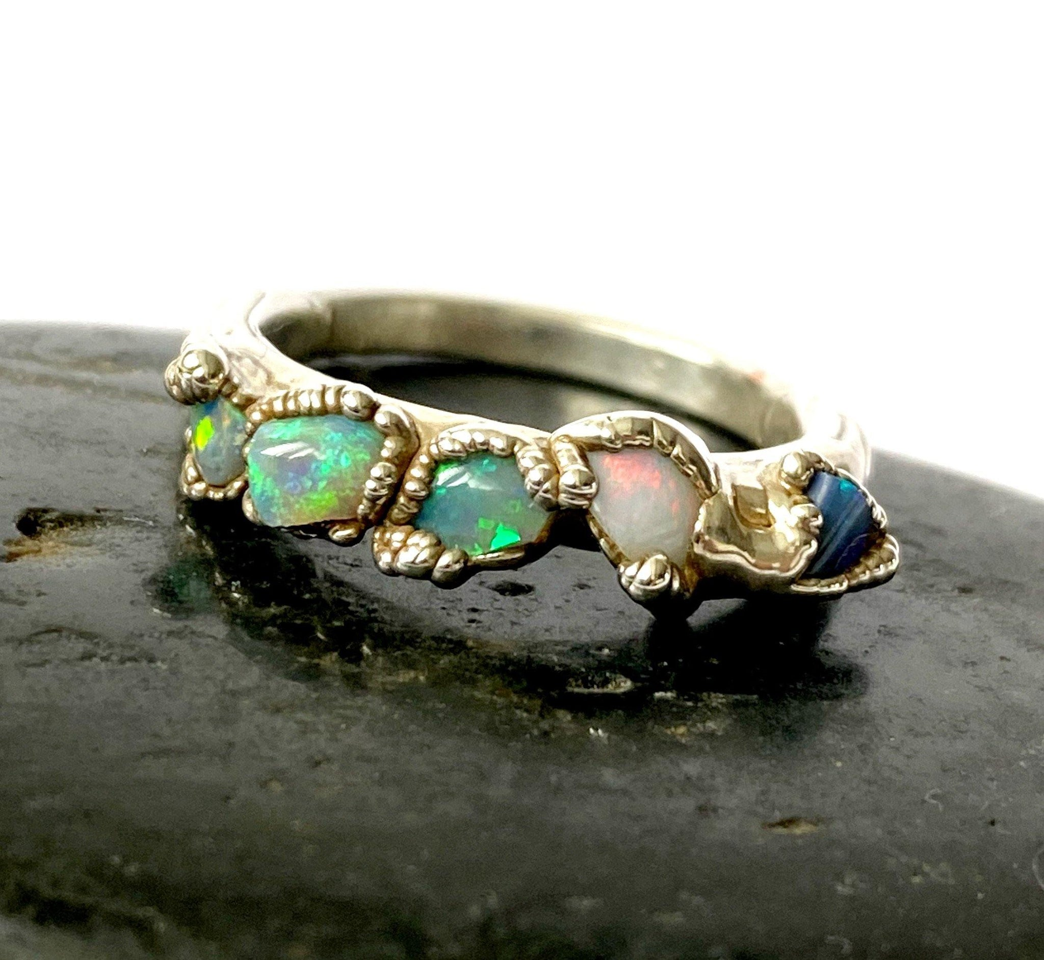5 Opal Silver Formed Ring - Glitter and Gem Jewellery