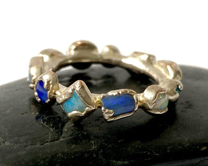 11 Solid Opal Silver Ring