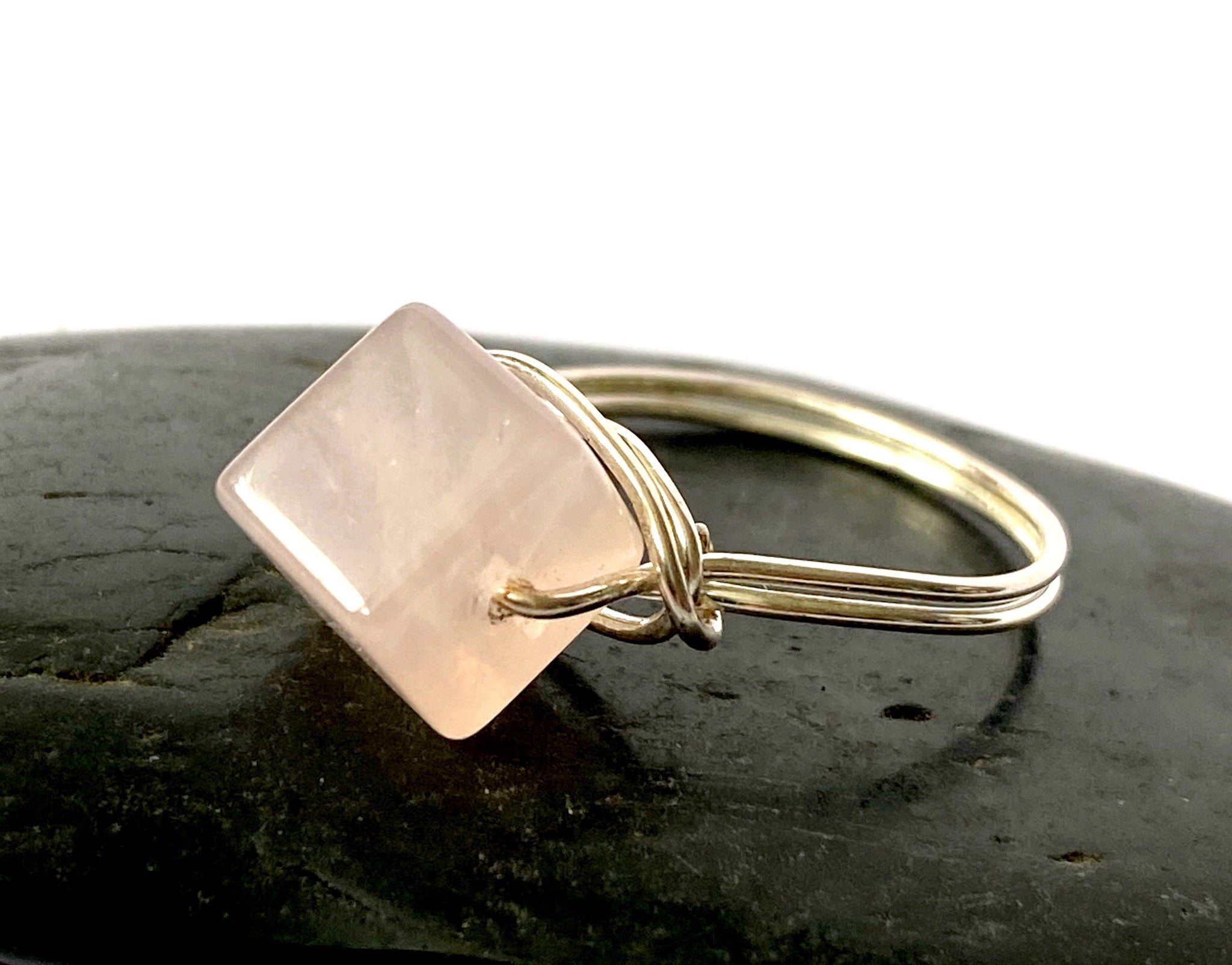 Rose Quartz Cube Silver Filled Wire Ring - Glitter and Gem Jewellery
