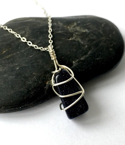 Blue Goldstone Sterling Silver Wire Wrap Pendant Necklace - Glitter and Gem Jewellery