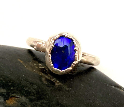 Solid Black Crystal Opal Silver Formed Ring