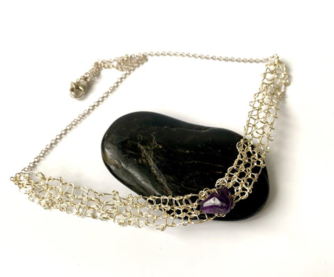 Amethyst Hand Woven Sterling Silver Necklace