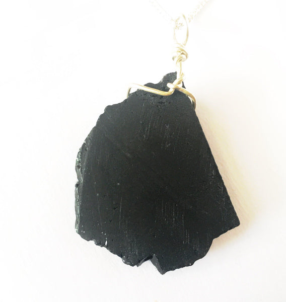 Black Tourmaline Sterling Silver Pendant Necklace - Glitter and Gem Jewellery