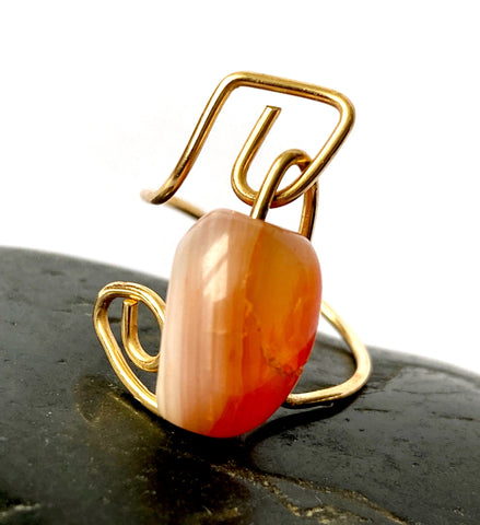 Orange Agate 14 carat gold filled wire ring - Glitter and Gem Jewellery