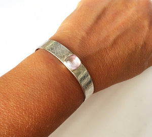 Pink Kunzite Textured Sterling Silver Cuff Bangle Bracelet