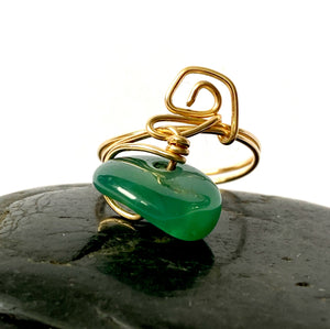 Green Jade 14 ct Yellow Gold Filled Wire Ring - Glitter and Gem Jewellery