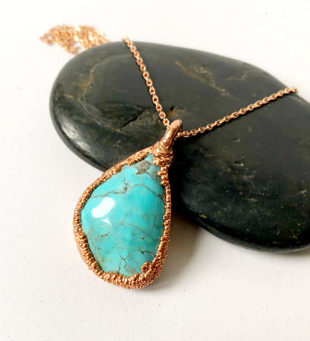 Kingsman Turquoise Copper Formed Pendant Necklace