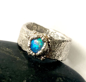 Solid Opal Textured Chunky Silver Unisex Ring