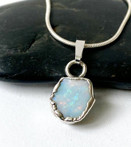 Coober Pedy Doublet Opal Silver Formed Pendant Necklace