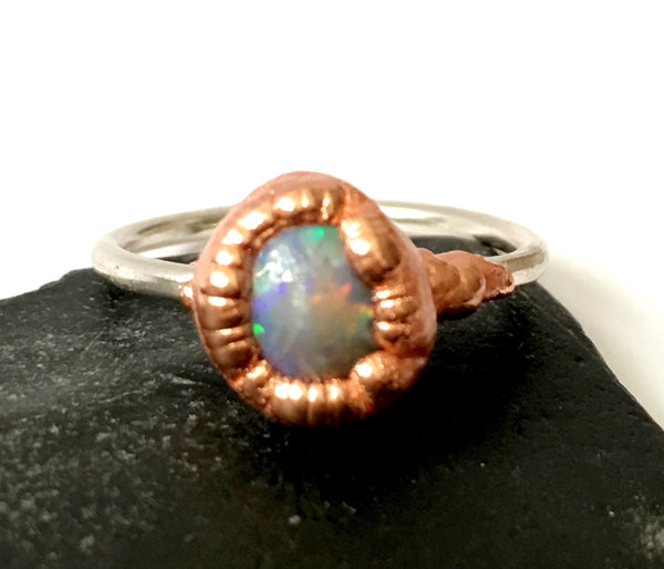 Solid Opal Copper & Sterling Silver Ring - Glitter and Gem Jewellery