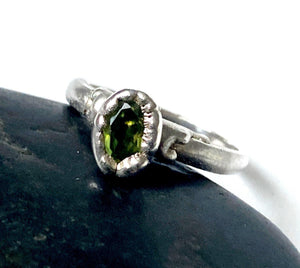 Peridot Silver Formed Ring