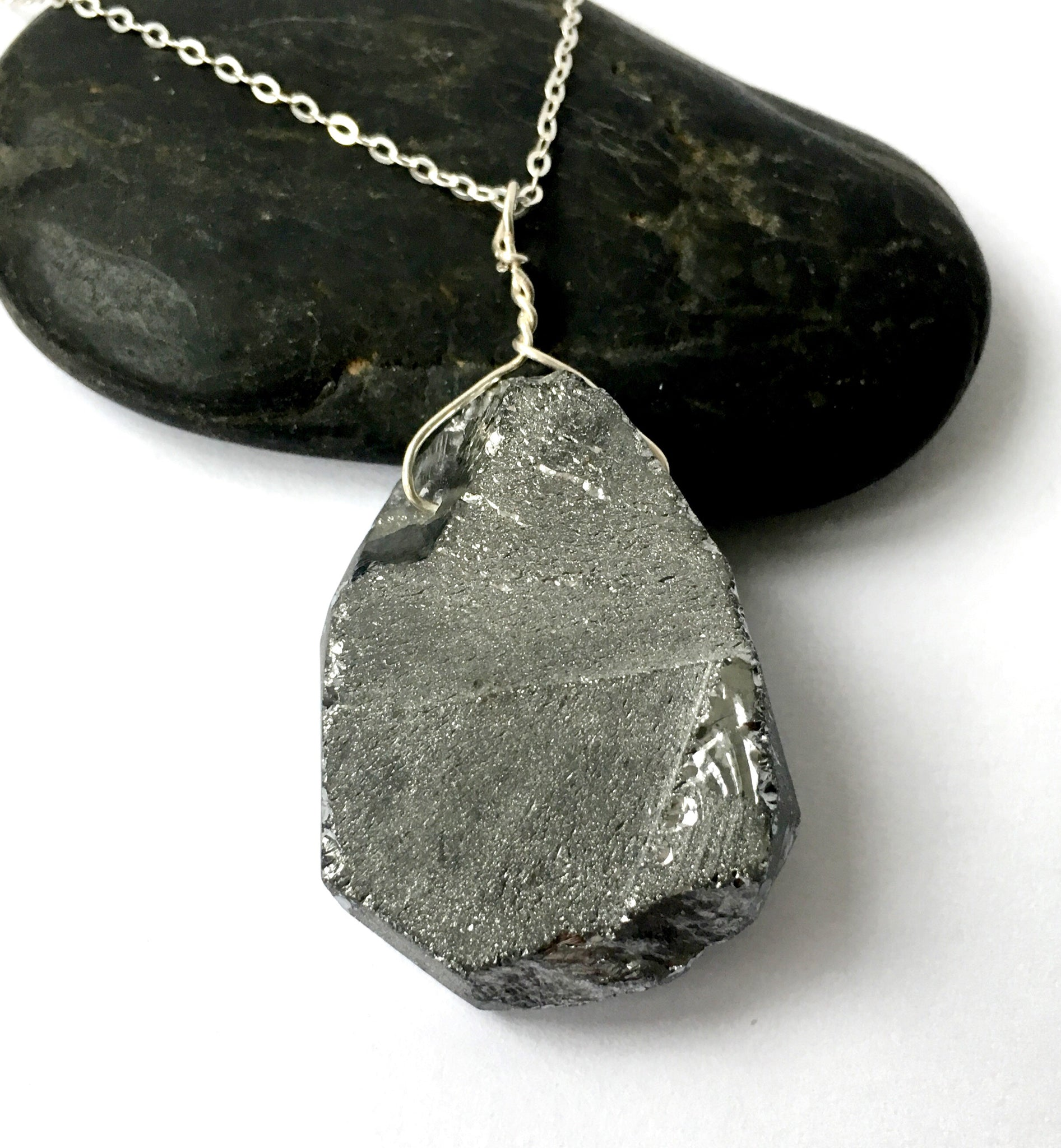 Silver Electroplated Quartz Sterling Silver Pendant Necklace - Glitter and Gem Jewellery