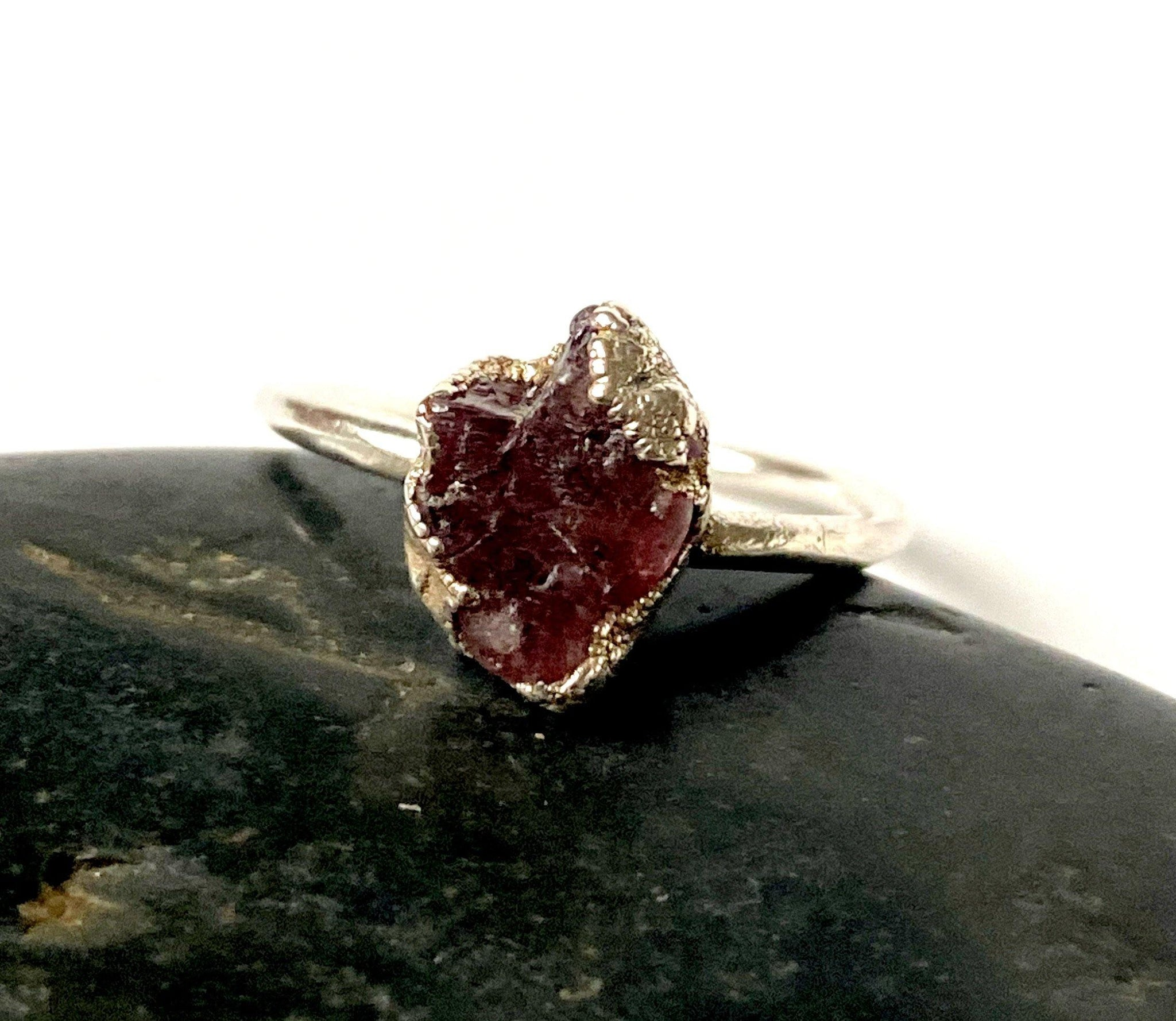 Pink Spinel Silver Formed Ring