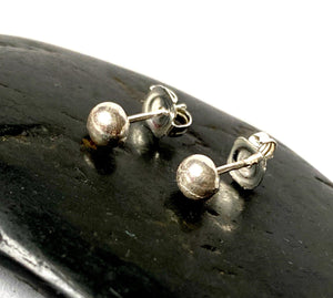 Textured Sterling Silver Ball Stud Earrings