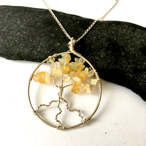 Welo Opal Tree of Life Sterling Silver Pendant Necklace - Glitter and Gem Jewellery