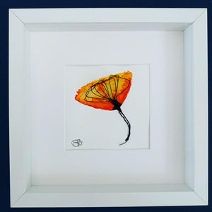 Orange Flower Original Watercolour & Wire Sculpture Art