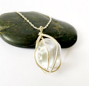 Clear Quartz Sterling Silver Wire Wrap Pendant Necklace - Glitter and Gem Jewellery