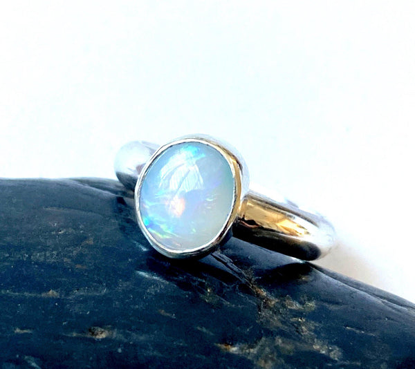 Solid Coober Pedy Opal Sterling Silver Ring