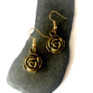 Bronze Rose Dangle Earrings - Glitter and Gem Jewellery