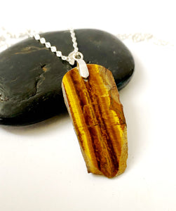 Rough Cut Tigers Eye Sterling Silver Unisex Pendant Necklace