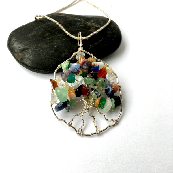 Handmade Circle Tree of Life Indian Agate Sterling Silver Pendant Necklace - Glitter and Gem Jewellery