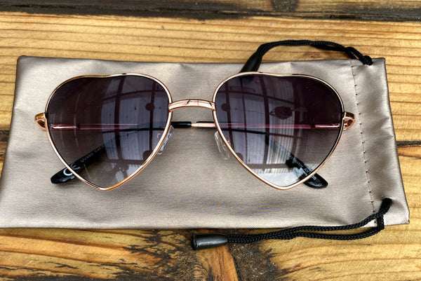 Rose Gold Mirrored Heart Sunglasses - Glitter and Gem Jewellery