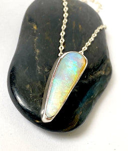 Mintabie Solid Opal Sterling Silver Necklace - Glitter and Gem Jewellery