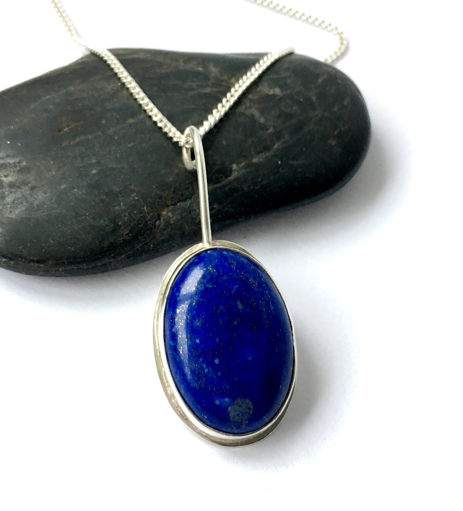 Lapis Lazuli Hand Cut in a Handmade Sterling Silver Oval Pendant Necklace. - Glitter and Gem Jewellery