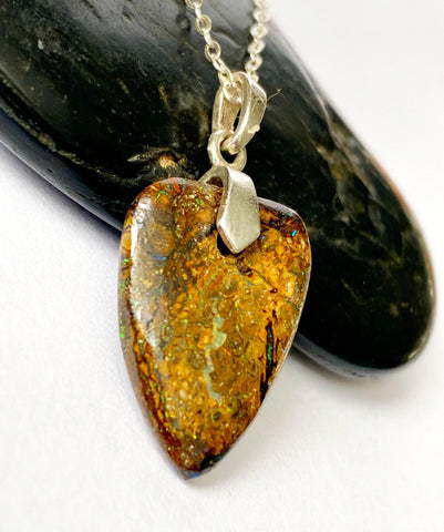 Natural Boulder Opal Sterling Silver Pendant Necklace