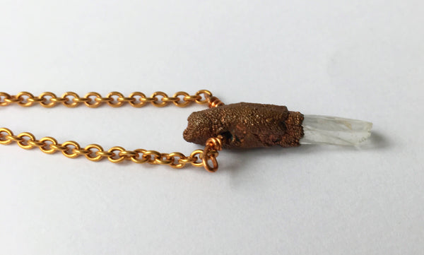 Quartz Point Copper & Rose Gold Plated Pendant Necklace - Glitter and Gem Jewellery