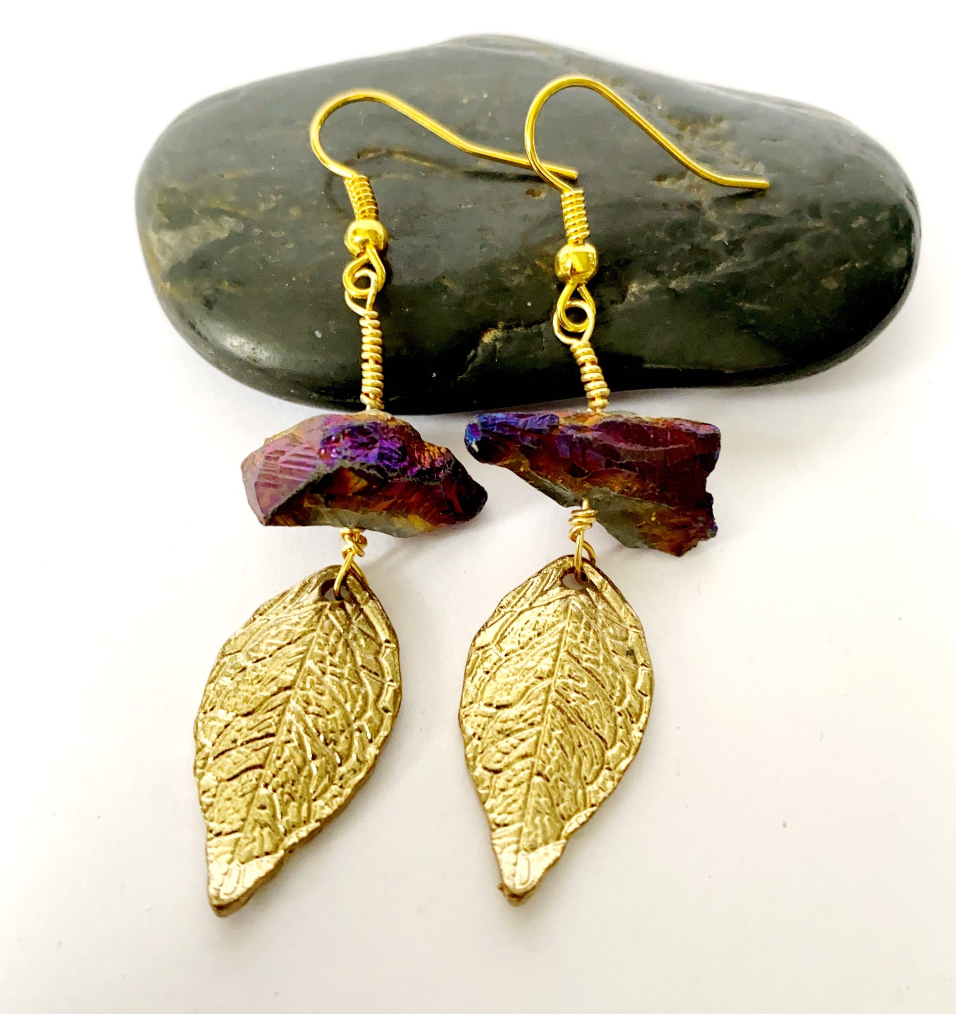 Titanium Quartz Leaf Gold Earrings - Glitter and Gem Jewellery