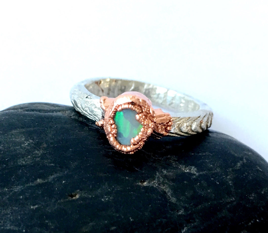 Solid Opal Copper and Sterling Silver Cuttlefish Cast Ring - Glitter and Gem Jewellery