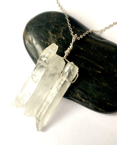 3 Quartz Spears Silver Pendant Necklace