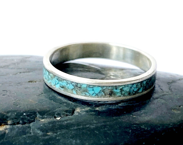 Sterling Silver Natural Turquoise Inlay Ring Band - Glitter and Gem Jewellery