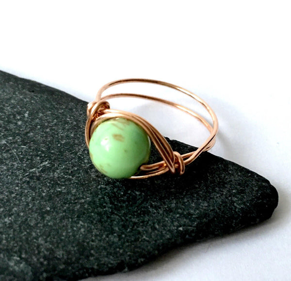 African Green Turquoise 14 carat Yellow Gold Filled Wire Ring - Glitter and Gem Jewellery