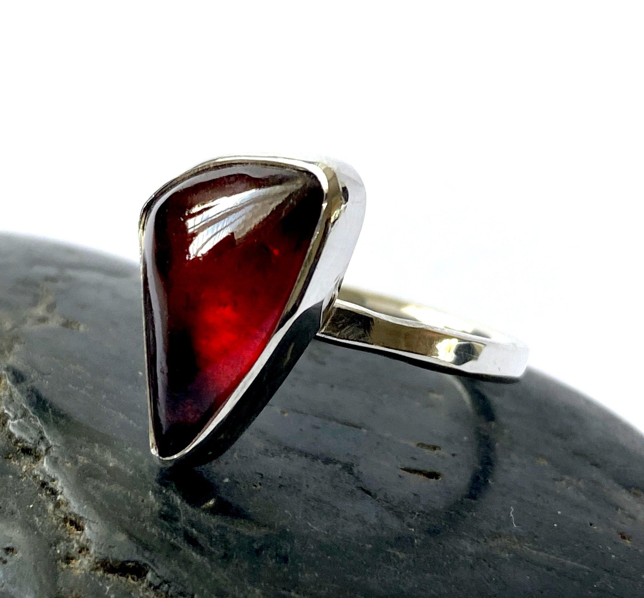Garnet Sterling Silver Ring - Glitter and Gem Jewellery