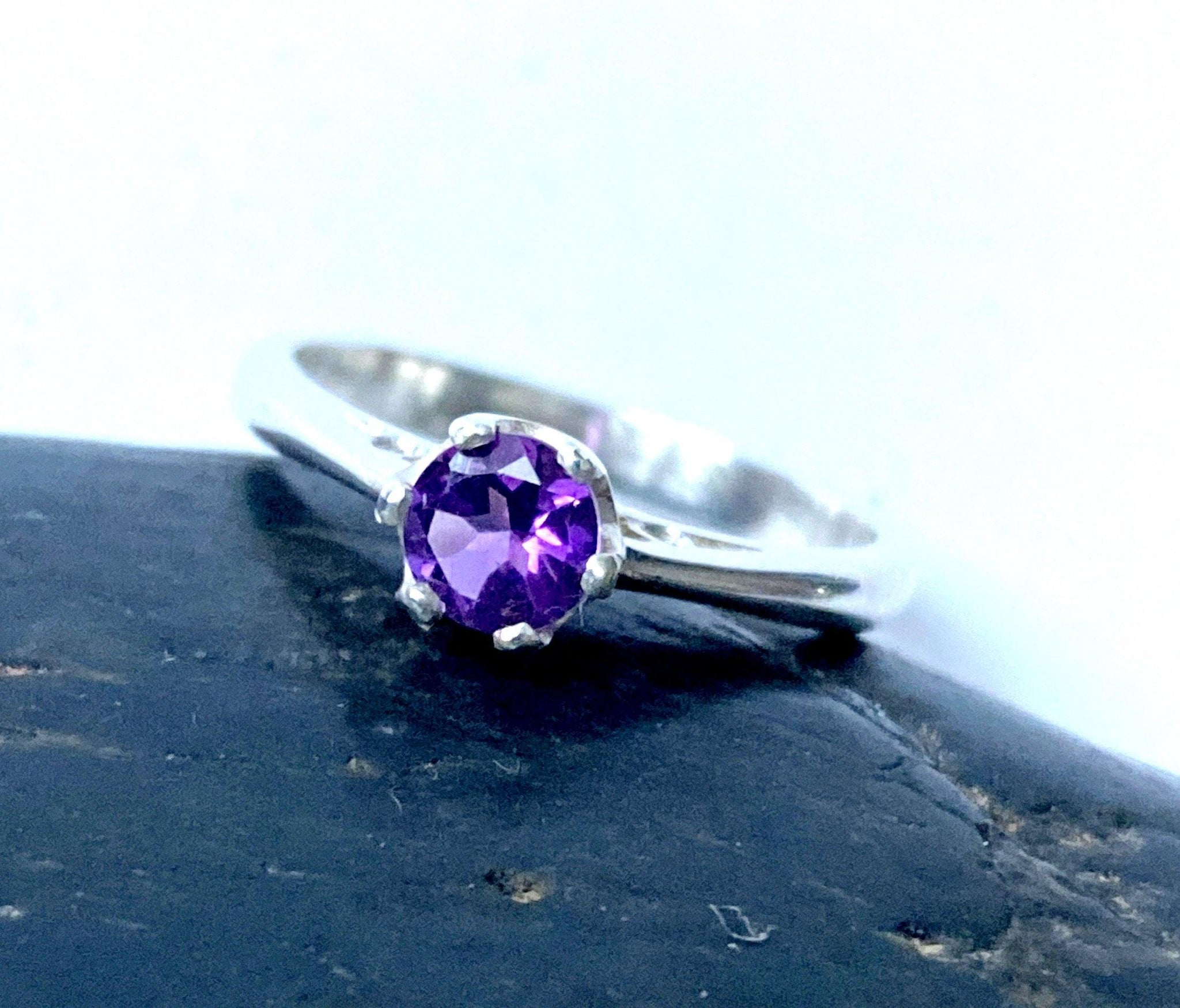 Amethyst Faceted Sterling Silver Ring