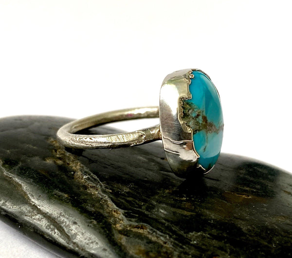Kingsman Boulder Turquoise Silver Formed  Ring