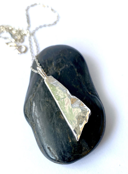 Boulder Opal Unisex Silver Formed Pendant Necklace