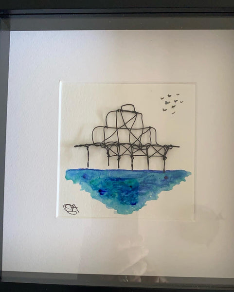 Brighton West Pier Wire & Watercolour Art