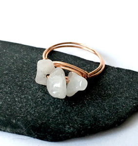 Rose Quartz 14 Carat Rose Gold Filled Wire Ring - Glitter and Gem Jewellery