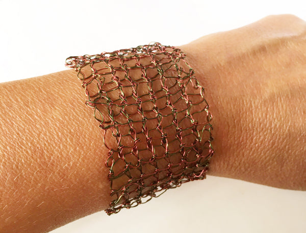 Hand Woven Burgundy & Green Wire Bracelet - Glitter and Gem Jewellery