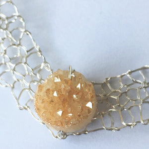 Hand Woven Silver Champagne Druzy Quartz Necklace - Glitter and Gem Jewellery