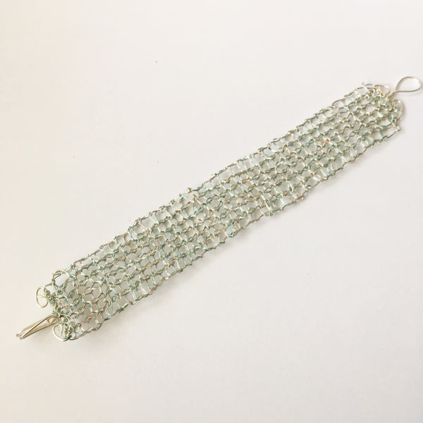 Hand Woven Aqua & Silver Wire Bracelet - Glitter and Gem Jewellery