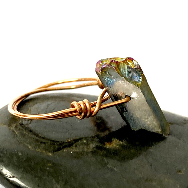 Titanium Quartz Point 14 Carat Rose Gold Filled Wire Ring - Glitter and Gem Jewellery